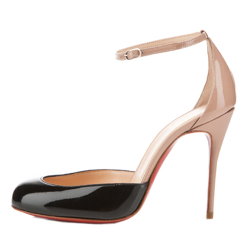 Christian Louboutin Tres Decollete 100mm schwarze Pumps / Nude