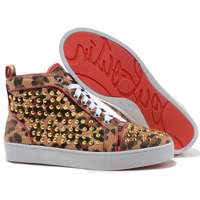 Christian Louboutin Louis Gold-Spikes High Top Sneakers Leopard
