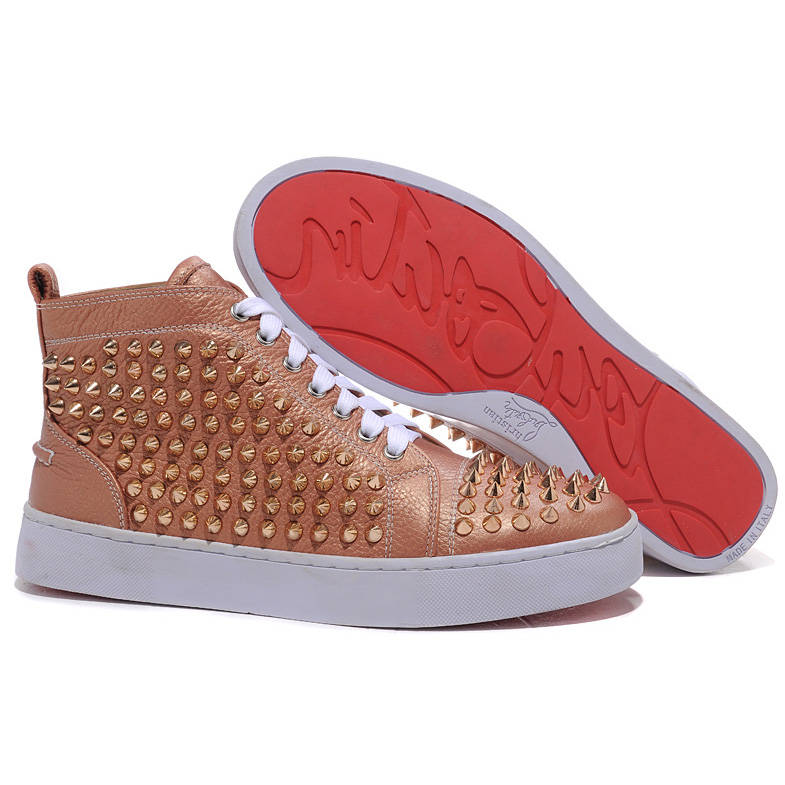 Christian Louboutin Louis Gold-Spikes High Top Sneakers Taupe