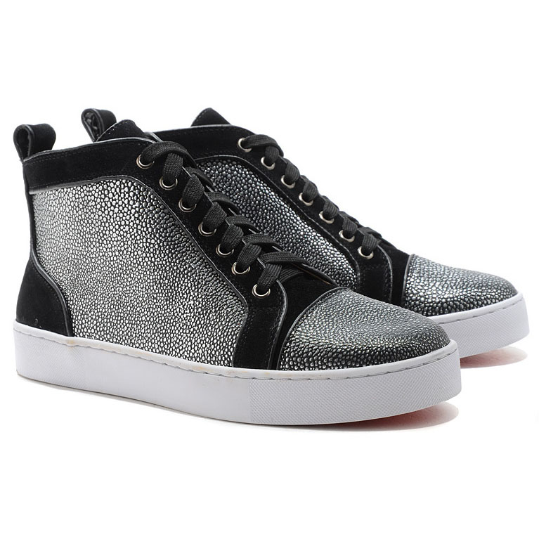 Christian Louboutin Louis Jeweled High Top Sneakers Schwarz