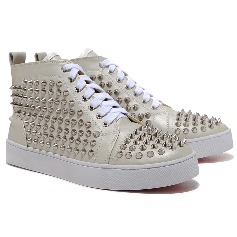 Christian Louboutin Louis Spikes Silber High Top Sneakers Beige