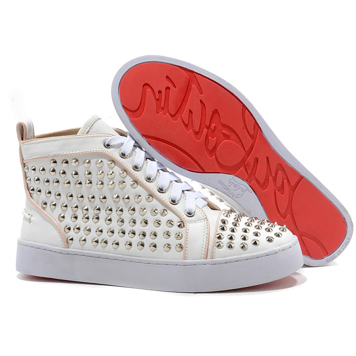 Christian Louboutin Louis Spikes Silber High Top Sneakers Wei?