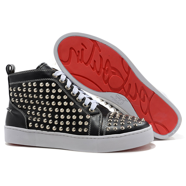 Christian Louboutin Louis Spikes Silber High Top Sneakers Schwarz