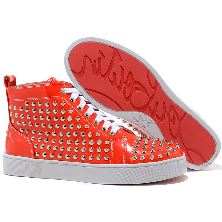 Christian Louboutin Louis Spikes High Top Sneakers Silber orange