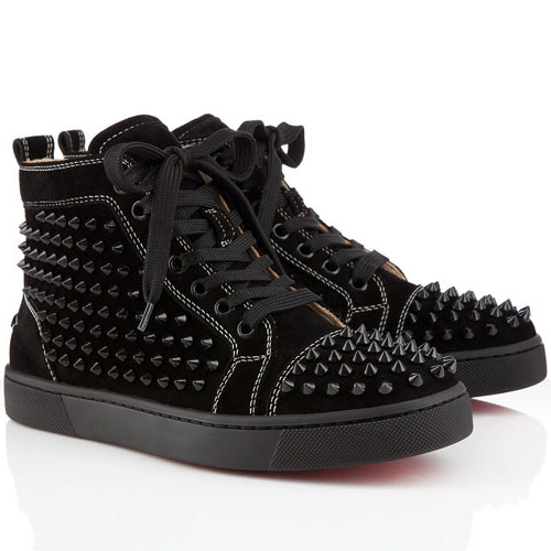Christian Louboutin Louis Spikes High Top Sneakers Schwarz
