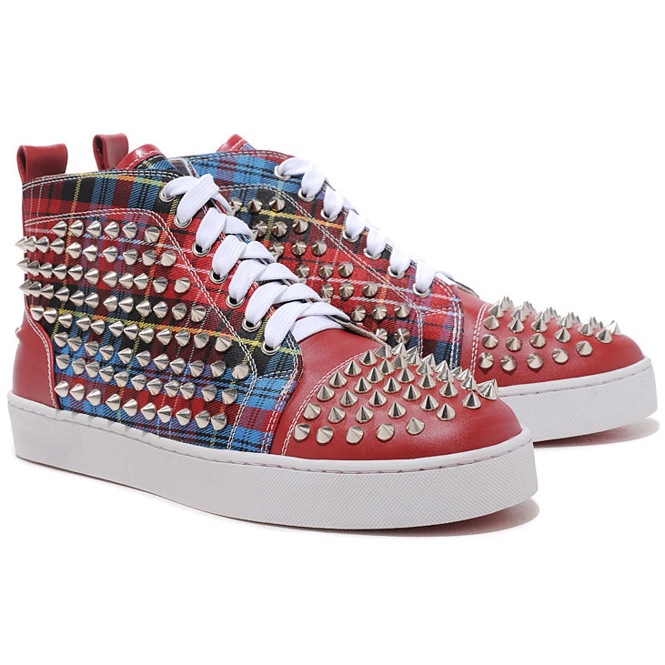 Christian Louboutin Louis Spikes High Top Sneakers Red