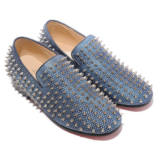 Christian Louboutin Rollerboy Spikes Loafers Silver Blue
