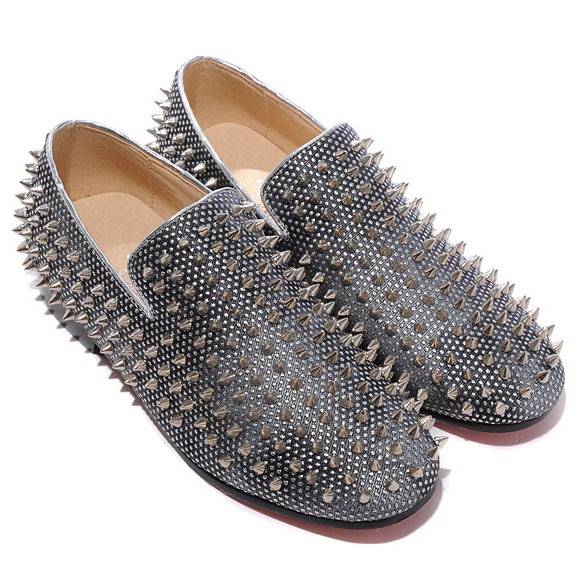 Christian Louboutin Rollerboy Spikes Loafers Silbergrau