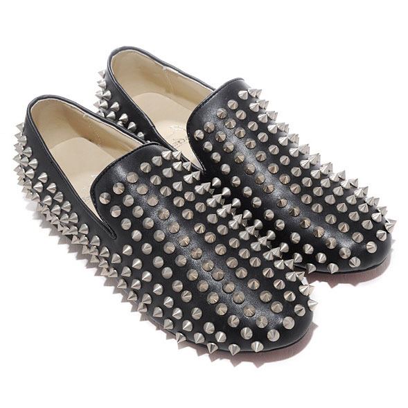 Christian Louboutin Rollerboy Silber Spikes Loafers Schwarz