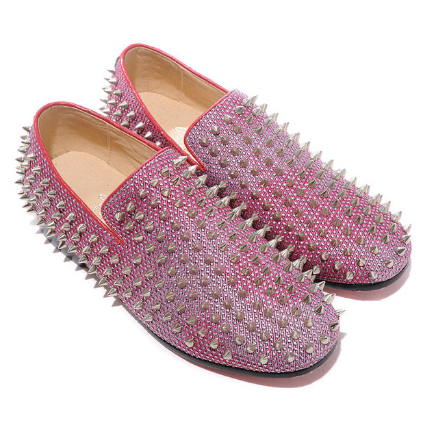 Christian Louboutin Rollerboy Silber Spikes Red Mokassins
