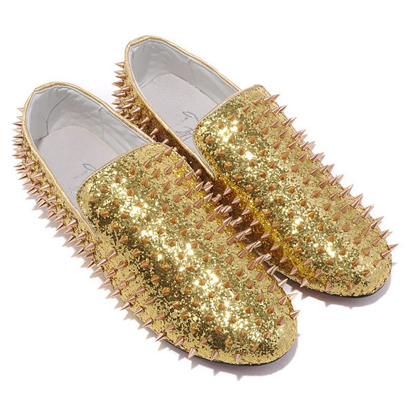 Christian Louboutin Rollerboy Bronze Spikes Loafers
